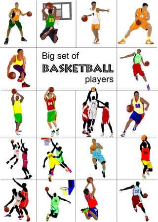 Big set of Basketball players.  illustration Illustration