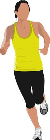 jogging track: The running men. Jogging. illustration