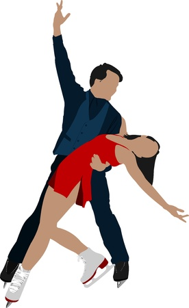 Figure skating colored silhouettes. illustration