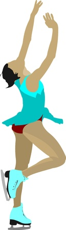 Figure skating colored silhouettes. Vector illustration Vector