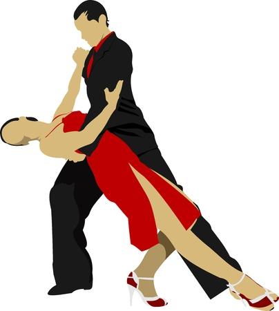 tango dance: Couples dancing a tango