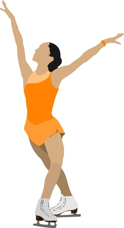 figure skates: Woman Figure skating colored silhouette.  illustration Illustration