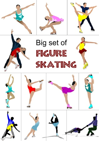 Big set of Figure skating colored silhouettes.  illustration