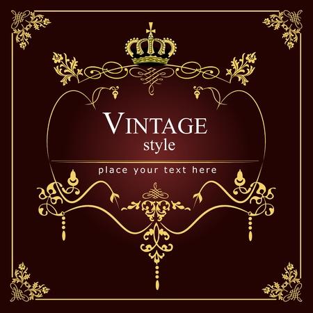 chandelier: Invitation vintage card. Wedding or Valentine`s Day.  illustration