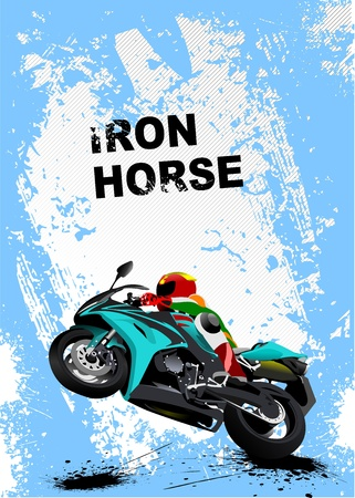 motorbike race: Grunge blue background with motorcycle image. Iron horse.  illustration