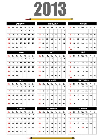 2013 calendar with pencil image.  Vector
