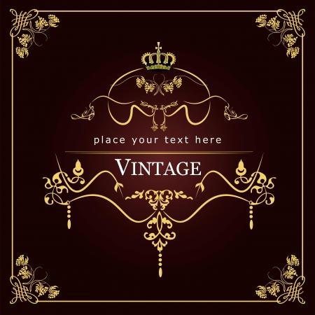 inbjudan: Inbjudan vintage kort. Bröllop eller Valentine `s Day.