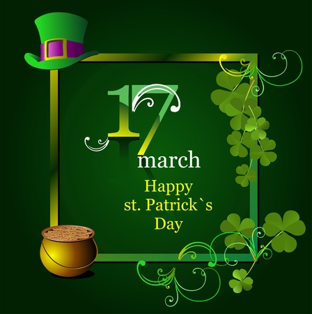green hats and shamrocks for St. Patricks Day.  Vector