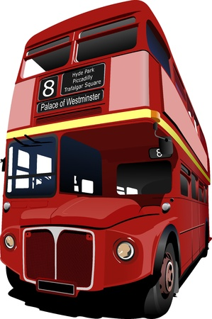 double decker bus: London double Decker  red bus.  illustration