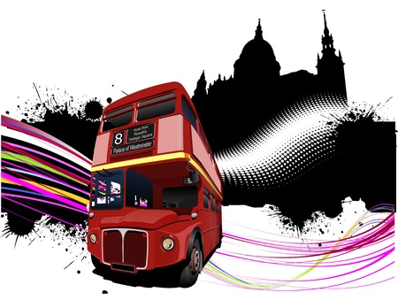 decker: Grunge London images with double decker red bus image.