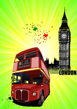 decker: Grunge London images with buses image. Vector illustration