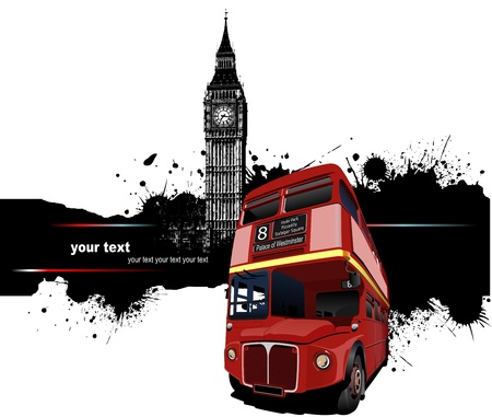 britain flag: Grunge banner with London and bus images.  illustration