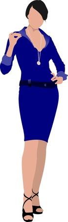 Beautiful brunette women in blue dress on white background Stock Vector - 12332059