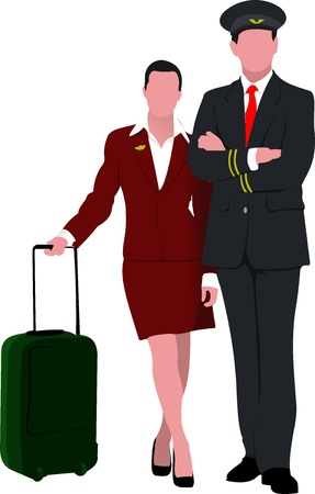Flight crew. Cheerful pilot and stewardess with trolley, isolated over white background.  Vector