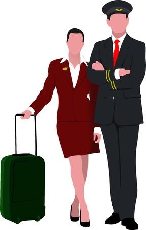 Flugbesatzung. Fröhlich Pilot und Stewardess mit Wagen, über weißem Hintergrund. Illustration