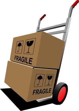Boxen auf Handhubwagen. Abbildung