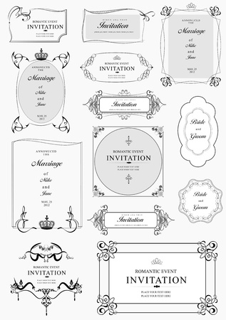 Set of ornate frames and ornaments with sample text. Perfect as invitation or announcement. All pieces are separate. Easy to change colors and edit. Vector