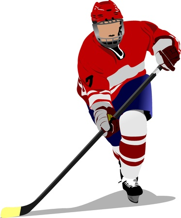 Ice hockey player. Colored  illustration for designers Vector