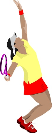 tennis racquet: Tennis player. Colored  illustration for designers