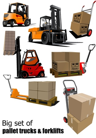 lift trucks: Big set of Forklifts and pallet trucks  illustration