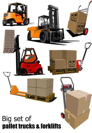 storehouse: Gran conjunto de Montacargas y la ilustraci�n palet camiones Vectores
