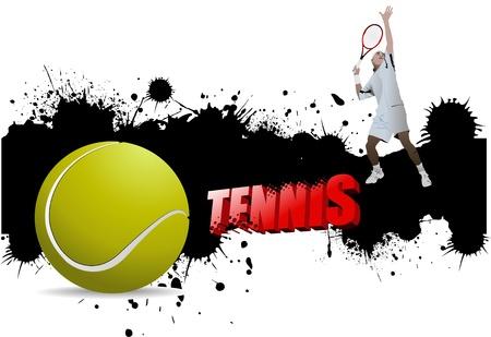 Grunge cartel de tenis con una pelota de tenis y un reproductor, la ilustración