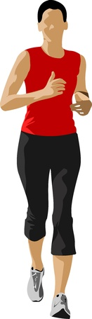 young woman running: The running people.  illustration