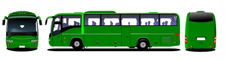 frontal: City bus. Tourist coach. Frontal, rear, side view.