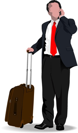 airport people: Business man with suitcase. illustration