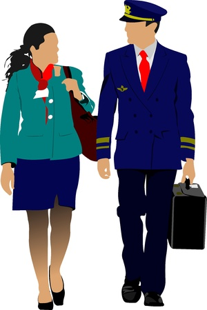 Flight crew. Cheerful pilot and stewardess with trolley, isolated over white background. Vector illustration Illustration
