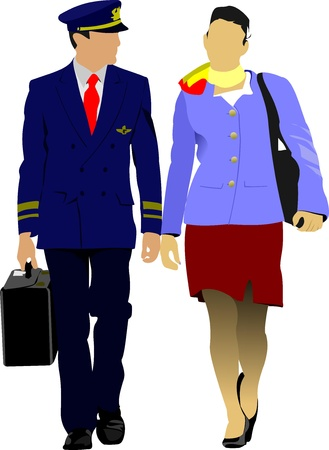crew: Flight crew. Cheerful pilot and stewardess with trolley, isolated over white background.