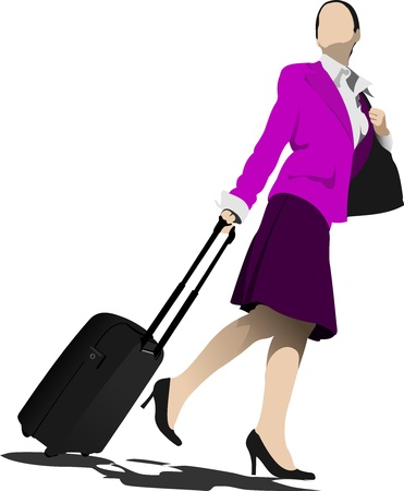 Business man with suitcase. Stewardess.  Vector
