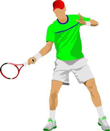 tennis racquet: Jugador de tenis. Ilustraci�n de color para los dise�adores