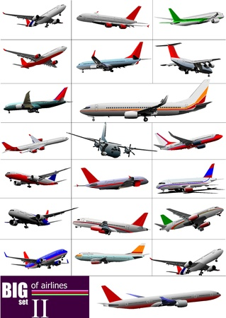 Big set of  Airliners.  illustration Illustration
