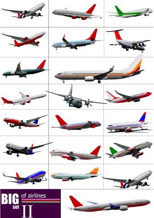 Große Reihe von Verkehrsflugzeugen. Abbildung Illustration