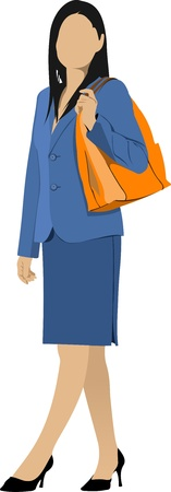 business woman standing: Business woman. Colored  illustration Illustration