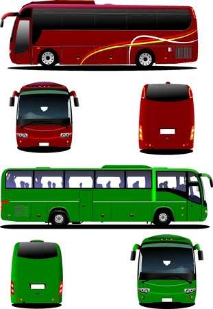 tourist: Two city buses. Tourist coach. illustration for designers Illustration