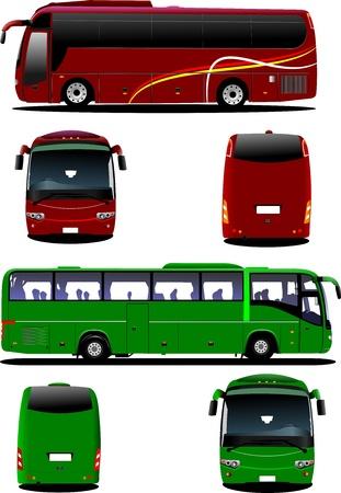 ausflug: Zwei Stadtbusse. Tourist Coach. Illustration f�r Designer