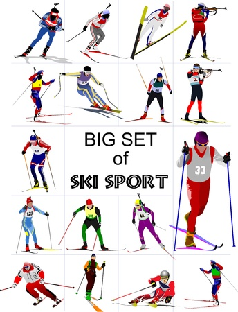 Big set of Ski sport colored silhouettes. illustration