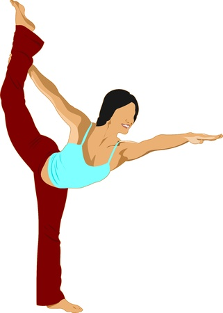 Woman practicing Yoga exercises.  Illustration of girl in Dancers Pose isolated on white background. Vector