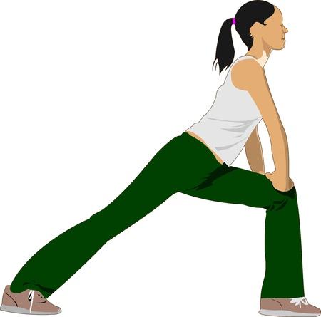 body toning: Woman practicing Yoga exercises.  Illustration of girl pose isolated on white background.