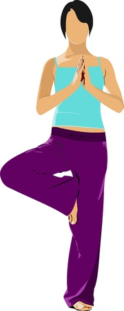 fat body: Woman practicing Yoga exercises.  Illustration of girl pose isolated on white background.