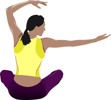 Woman practicing Yoga exercises.  Illustration of girl pose isolated on white background. Vector