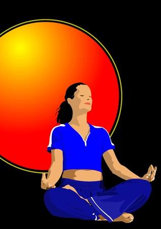 Yoga pose -  poster Stock Vector - 12332326