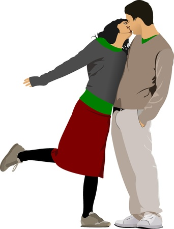 Kissing Couple illustration Vector