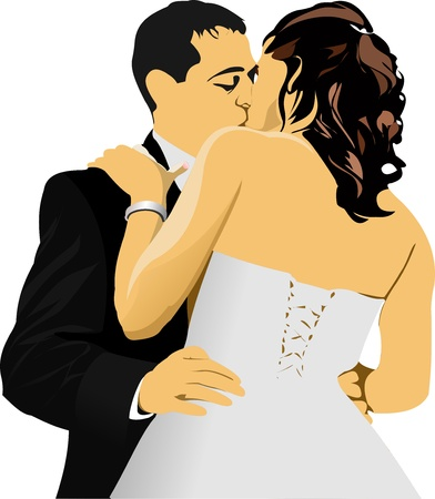 Kissing Couple. Bride and Groom.  illustration Vector