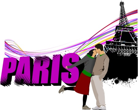 3D word Paris on the Eiffel tower grunge background with kissing couple.  illustration Vector