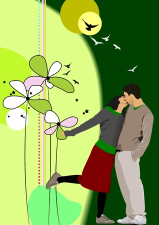 girls kissing: Flower  background with kissing couple. illustration