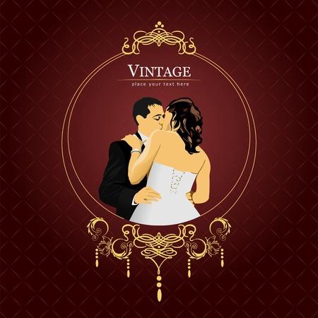Einladung Vintage-Karte. Hochzeits-oder Valentinstag. Abbildung
