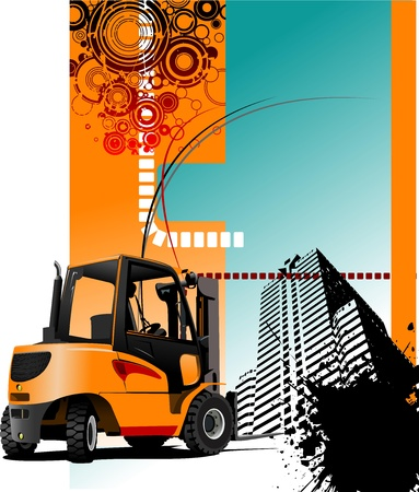 Urban abstract grunge composition with forklift image.illustration Stock Vector - 12332388